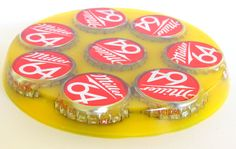 Bottle cap resin coaster - made with mold 431