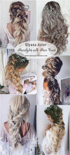 Ulyana Aster Long Wedding Hairstyles with Hair Vine #weddings #weddingideas #weddnghairstyles #hairstyles ❤️ http://www.deerpearlflowers.com/ulyana-aster-wedding-hairstyles-2/