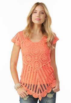 Crochet Point Hem Top #CatoFashions