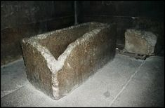 Great Pyramid Architecture 'The sarcophagus, made of Aswan granite, was equipped with a sliding dovetailed lid; it is similar to many other sarcophagi, particularly that of Unas and most especially those of the great mastaba of Meidum and the pyramid of Kephren. Upon closing, three rods inserted into holes in the lid dropped into three corresponding holes in the cask, which were not as deep as the length of the rods'.