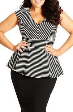 Plus Size Stripe V-Neck Peplum Top