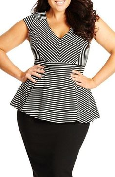 Plus Size Stripe V-Neck Peplum Top