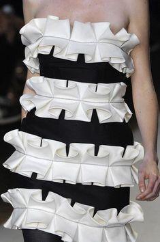 Monochrome dress with 3D box pleat detail - fabric manipulation for fashion; creative sewing ideas; decorative pleating // Giambattista Valli: