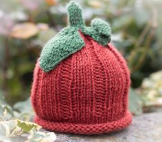Hand Knit Pumpkin Beanie Hat from Blueberry Barn Designs.