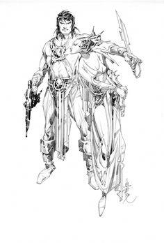 Nino, Alex -- Dejah Thoris and John Carter, Warlord of Mars Comic Art