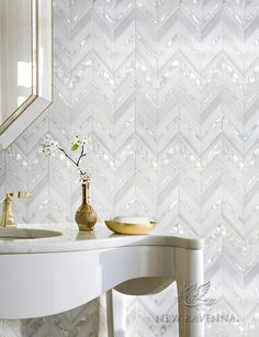Magdalena, shown in polished Paperwhite, polished Thassos, and Shell. is part of New Ravenna's Studio Line. All mosaics in this collection are ready to ship within 48 hours.