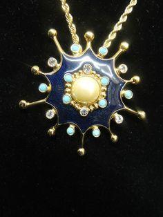 Jose Maria Barrera Brooch Earring Set Avon Necklace Faux Pearl Enamel Rhinestone