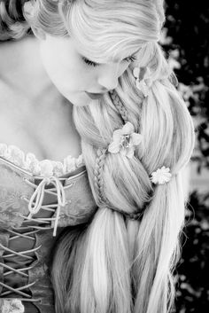 Rapunzel black and white.