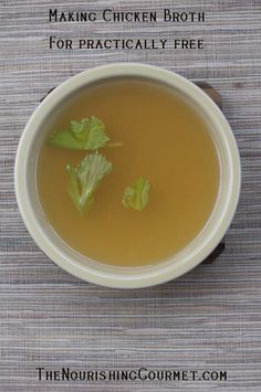 Chicken broth is one of the most wonderful foods out there. It is full of flavor and incredibly nutritious! And it's also very frugal to make, which is why it was one of the first things I mentioned