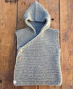 Hand Knitted Chunky Unisex Organic Cotton Hooded Vest by fablebaby