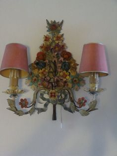 Vintage French Wall Light in Painted Tole by JacquelineMcEwan, $200.00