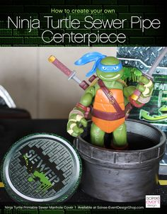How to Make Teenage Mutant Ninja Turtles Sewer Pipe Manhole Cover Centerpiece from Soiree-EventDesig. Turtle Birthday Parties, Ninja Turtle Birthday, Ninja Turtle Party, Birthday Ideas, 4th Birthday, Ninja Turtle Centerpieces, Party Centerpieces, Table Decorations, Ninja Party