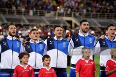 Team Italy lines up for national anthem prior to the UEFA EURO 2016 qualifier between Italy and Malta on September 3, 2015 in Florence, Italy.