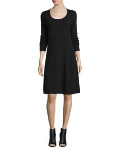 MAGASCHONI CASHMERE LONG-SLEEVE FIT-&-FLARE DRESS. #magaschoni #cloth #