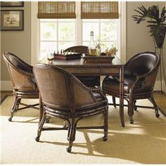Bal Harbour 293SA 5 Piece Marco Island Game Table Set with Rum Runner Game/Desk Chair by Sligh at Becker Furniture World