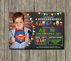 Superhero Invitation / Avengers Invitation / by DTAinvitation Superhero Party Games, Superhero Birthday Invitations, Superhero Birthday Party, Lego Birthday, 4th Birthday Parties, Hippie Birthday, Comic Party, Hulk Party, Avengers Birthday