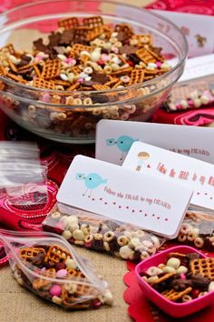 Valentine Trail Mix with PRINTABLE TAGS for school Valentine parties...A Nut Free Valentine Snack that is safe for the classroom. From @Sommer | A Spicy Perspective Thinking these will be Jax's treats this year! So fun!!! :)