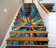 3D Prosperous City Buildings 1009 Stair Risers Glitter Stairs, Stair Art, Decoration Photo, Marble Stairs, Painted Staircases, 3d Tree, Floor Murals, Stair Risers, Traditional Wallpaper
