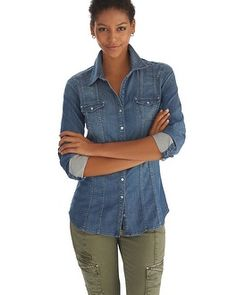 Denim Shirt with Olive Skinnys!