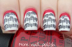 Music lines with red ruffian, inspired by ModCloth dresses ~ More Nail Polish