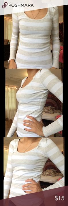 SOLD!! Cute Cream & White Striped Abercrombie Long Classic Long Sleeve Abercrombie shirt. Super comf never wear it! Large bht fits like small in womens size Abercrombie & Fitch Tops Tees - Long Sleeve