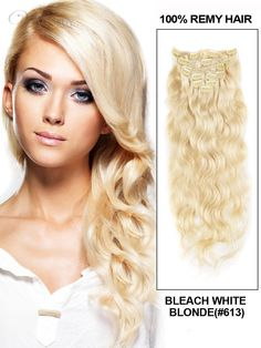 Wavy Bleach Blonde 7PCS Clip in Remy Human Hair Extensions