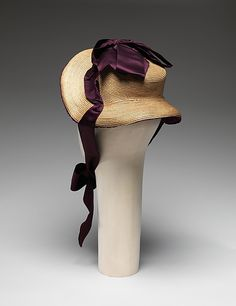 "1882 ... Promenade Bonnet ... straw & silk ... Diameter (crown): 4.75"" ... American ... at The Metropolitan Museum of Art ... photo 3"