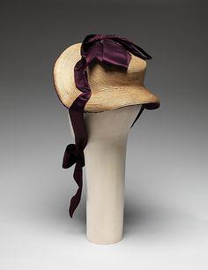 """1882 ... Promenade Bonnet ... straw & silk ... Diameter (crown): 4.75"""" ... American ... at The Metropolitan Museum of Art ... photo 3"""