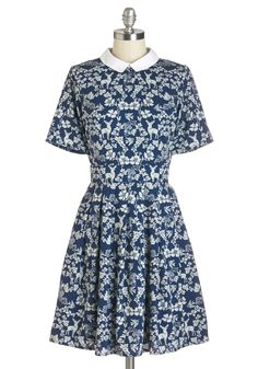 Heartwarming Habitat Dress. Every glance at the woodland print on this deep indigo dress from Yumi fills you with joy! #blue #modcloth