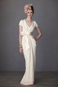 Crepe De Chine Column Wedding Gown