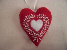 Red and White Felt Heart