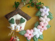 Guirlanda p/ porta com 2 passarinhos | Ana Arte  | 10F8B5 - Elo7