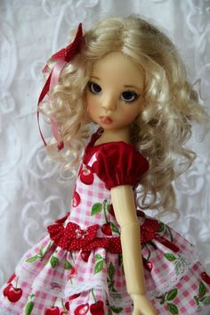 "Sweet Cherries~ OOAK Outfit for 18"" Kaye Wiggs  MSD BJD LAYLA~  Glorias Garden"