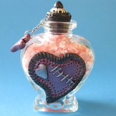 Bath Salts  Polymer Clay Decorated Glass Heart Shaped by Kaboochie, $16.00