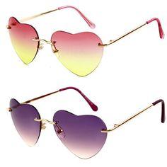 6a2a6cba490b7 Barato Bonito em forma de coração óculos de sol mulheres marca de DESIGN de  Metal óculos