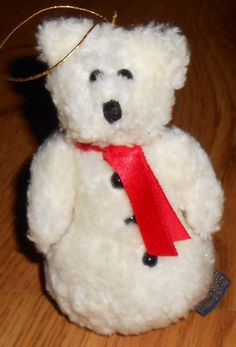 """Boyds Bear Marvin P. Snowbeary Ornament Plush  6"""" Issued 1997 Retired Snowman"""