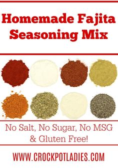 Skip the packets and make your own homemade fajita seasoning mix instead. Gluten free with no salt, sugar or MSG this healthy recipe is great for any diet! Fajita Seasoning Mix, Salt Free Seasoning, Homemade Fajita Seasoning, Fajita Recipe, Sodium Free Taco Seasoning Recipe, No Sodium Foods, Low Sodium Diet, Low Sodium Recipes, Low Cholesterol