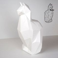 Kato - Feline Cat Print & fold papercraft kit printable low poly object