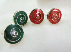 Stone and sterling silver spiral studs by PeruNz on Etsy, $35.00