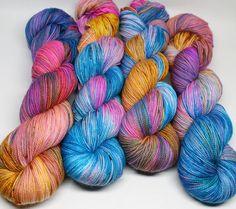 Hand Dyed Speckled Sock Yarn - SW Sock 80/20 - Superwash Merino Nylon - 400…