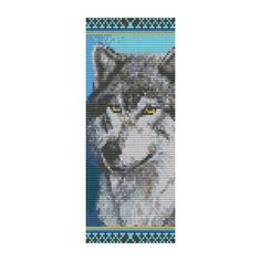 Free Bead Loom Bracelet Patterns | Bead Pattern Wolf Cuff Bracelet Square Loom Or by Outoftheflames