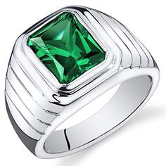 Revoni Mens 5.50 Carats Octagon Cut Emerald Ring In Sterling Silver With Rhodium Finish Size R,