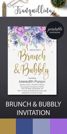 Brunch and bubbly Invitation Brunch bubbly bridal shower invitation, baby shower brunch, succulent purple floral bridal shower party invitation #purple #bridalshower #party #babyshower