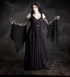 Willow Garden Gothic Wedding Dress Black Lace by rosemortem