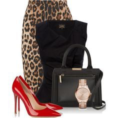 Red & Animal Print In The Office by bliznec on Polyvore featuring Altuzarra, Gianvito Rossi, Victoria Beckham and Michael Kors