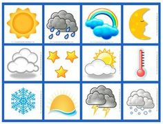 Bilderesultat for pictogram bilder Weather Activities, Color Activities, Preschool Activities, Weather For Kids, Classroom Organisation, Class Decoration, Learning Colors, Kids Education, Pre School