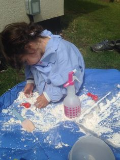 Cloud dough and a water sprayer!