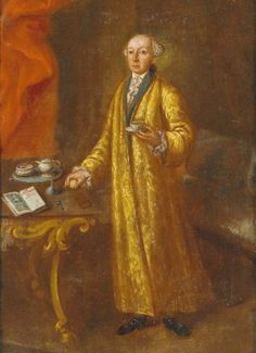 """A dish of tea with lemon, by Gennaro Basile, """"from the so-called """"Portrait Gallery of the Styrian nobility"""" of Gennaro Basile from Castle Hainfield"""". What a splendid dressing gown! 18th Century Fashion, 19th Century, Baroque Art, China Tea Sets, Tea Art, China Porcelain, Painted Porcelain, Porcelain Ceramics, Historical Costume"""