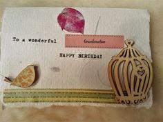 Hand typed hand-made grandmother birthday card by kokoandginger