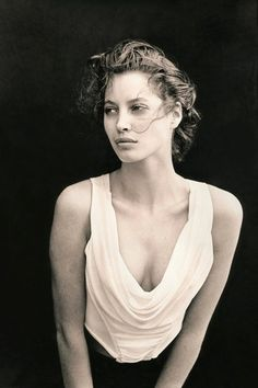 Christy Turlington-Photographed by Peter Lindbergh for the February 1988 issue.